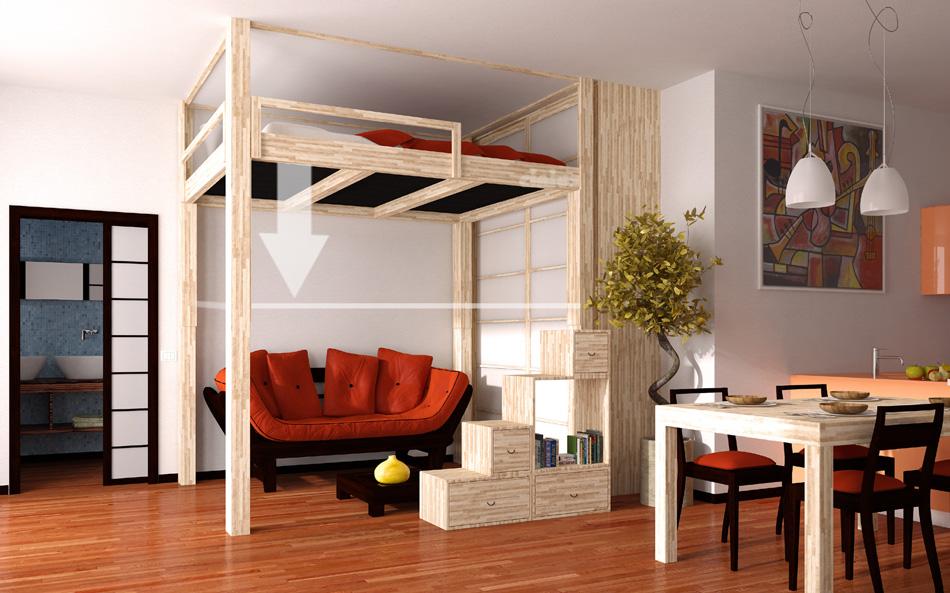 Cinius - Lit mezzanine RISING: mezzanine régable ...