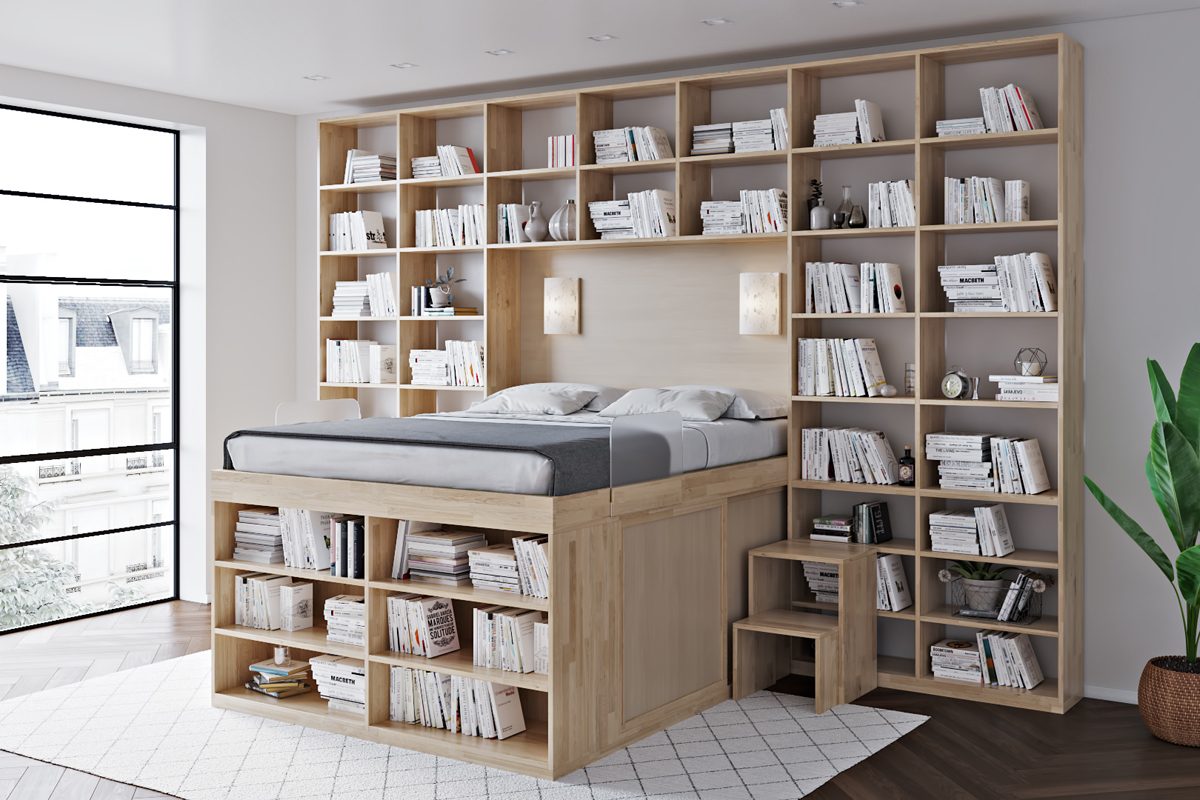 Space-Saving bed bed with library