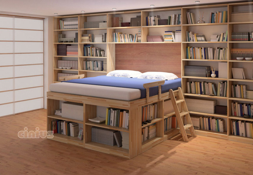 Space Saving bed bed with library