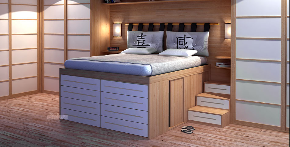 Space-Saving bed Impero with drawers