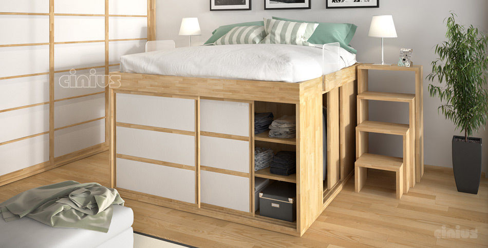 Space-Saving bed Impero with wardrobe