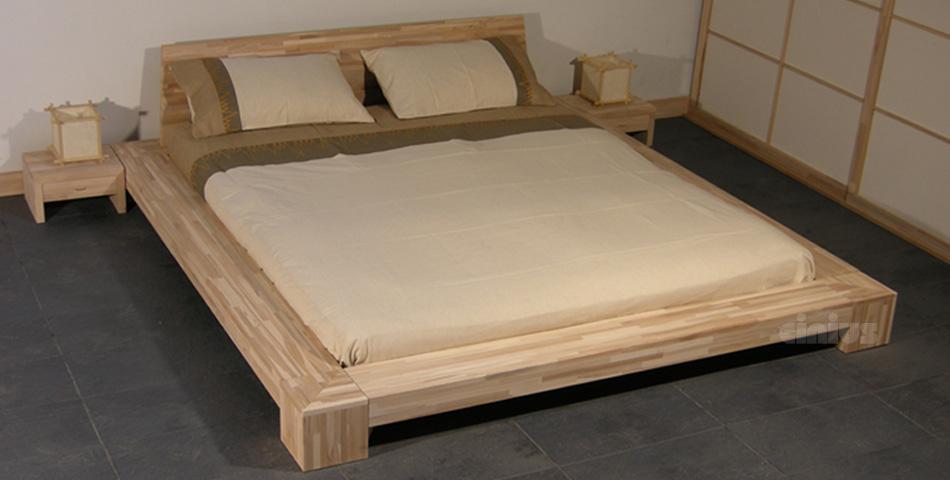 Letto isola di cinius stile giapponese in legno massello - Letto matrimoniale basso ...